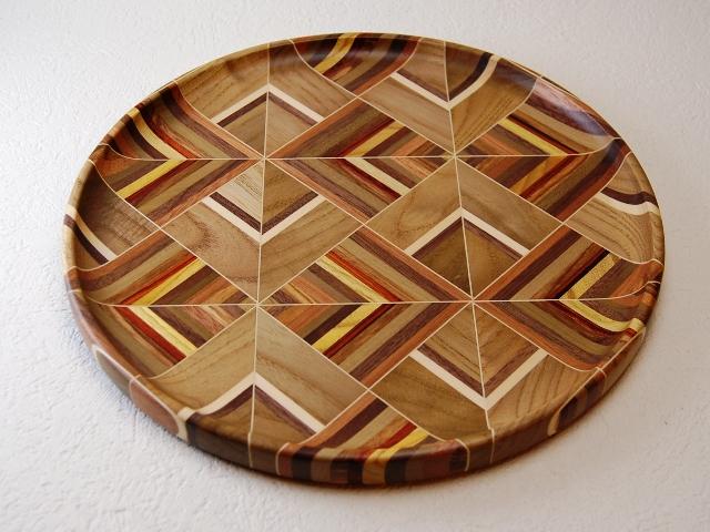 寄木無垢9寸丸盆 三角シマ 箱根 寄木細工 箱根寄木細工