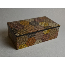 寄木8寸2段宝石箱 亀甲