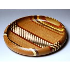 寄木無垢7寸菓子鉢 シマ市松 菓子器 箱根 寄木細工 箱根寄木細工