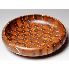 寄木無垢6寸菓子鉢 アジロ [菓子器]【寄木細工 箱根】
