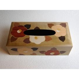 木象嵌ティッシュボックス つばき