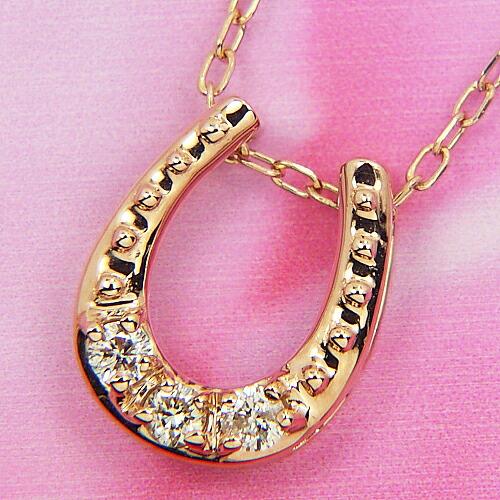 K18PG馬蹄ダイヤモンドネックレス♪【馬蹄】【ダイヤモンド】【ネックレス】【レディース】【アクセサリー】【ジュエリー】【天然石】 【0.070ct】【ピンクゴールド】プレゼント ギフト 贈り物 母の日