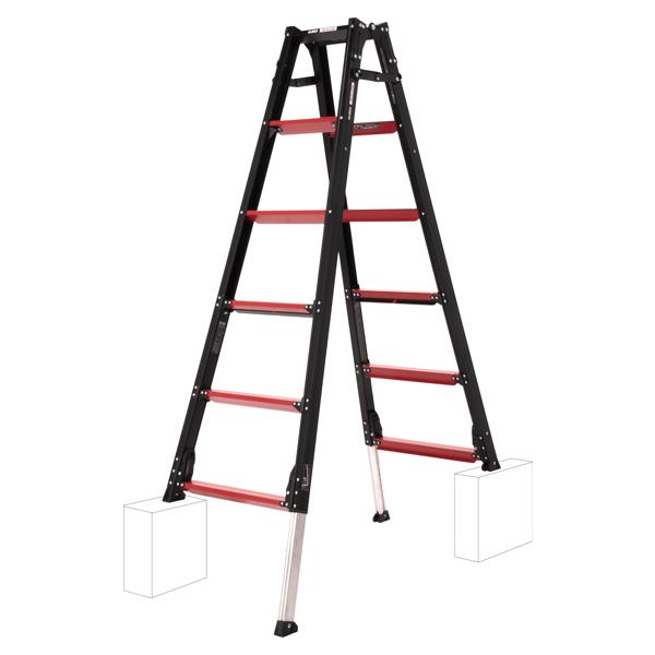 上部操作式伸縮脚付はしご兼用脚立 6尺【GUD-180】GAUDI 1台 赤と黒のコントラストが特徴的。立ったまま伸縮調整ができるので腰への負担が大幅軽減!※個人宅配送不可品(配送先に法人名記載必須)アルインコ(ALINCO)