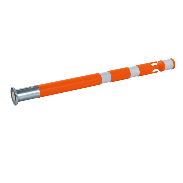 パッチンスタンド(マグネット式)AR-1491(オレンジ色)10本:敷鉄板(敷き鉄板)用。強力マグネット式で設置が簡単!振動によるズレを防止。プラスチックチェーンを掛けられるフック付き進入禁止・区画整理などに。ポール55φ(台座80φ)×800L。アラオ