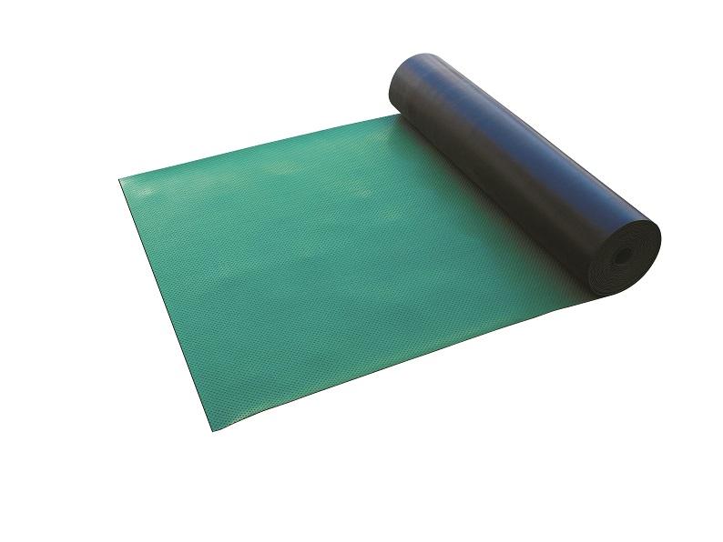 【送料無料】ポイントゴムマットを1巻(AR-1551)幅1m×長さ10m、厚み3mm。ゴム製。表面に滑り止めイボ状加工。多目的な用途に。歩行者の安全通路を確保。再利用やリースにも好適。仮設工事現場や解体工事現場等に(養生マット・緑)ARAO(アラオ)