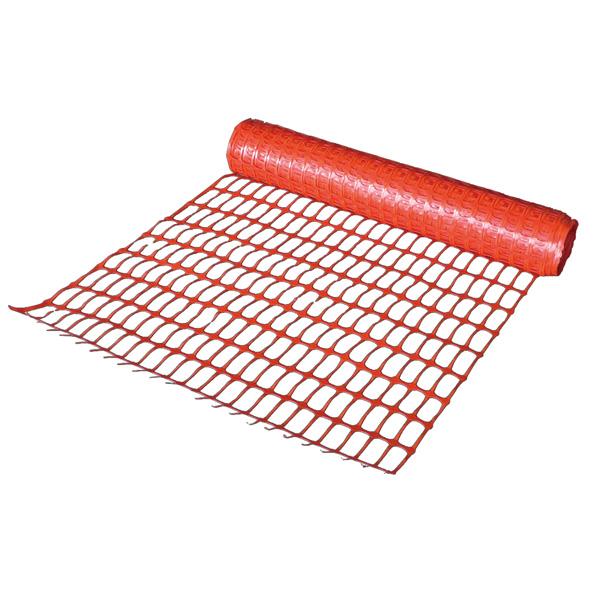 ネットプロテクターを1巻(幅1.5m×長さ50m):オレンジ色。AR-1305 ポリエチレン製で引張・引裂強度に優れ、寸法安定性が抜群。住宅工事や道路工事等での、防護仕切りや安全通路の確保に。単管やロープスティックに通しての使用も可能。(アラオ)