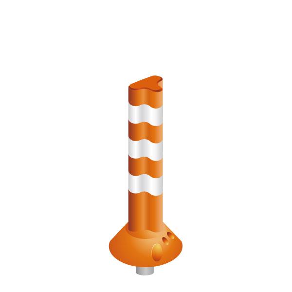 【送料無料】ポストフレックス - 一本脚タイプ 高さ650mm 1本(視線誘導標)PF-Q650 専用アンカーナット付き ※接着剤は別売です※ ソフトコーン,コーンポール,ポールコーン,ポストコーン,ラバーポール,ガードポール,オレンジ,緑,グリーン(保安道路企画)