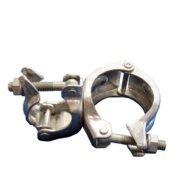 Φ115×兼用クランプ(自在)ドブメッキ【5個セット】大口径丸パイプ用大型クランプ。兼用部分はΦ48.6とΦ42.7単管パイプに対応。橋梁足場関連様、金属加工工場様、特殊金物製造業様必見。太陽光架台等,高防錆(丸丸クランプ)(津軽)