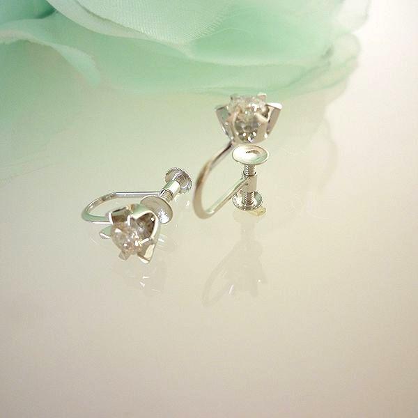 K14WG ダイヤモンド イヤリング 6本立爪 0.40ct