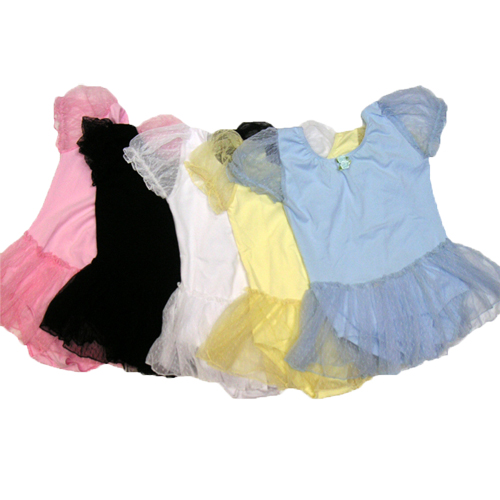 決算を迎え在庫売りつくし 在庫処分 卸直営 パフ袖小花付 買い取り レオタード バレエ用品 ソフトチュール スカート付
