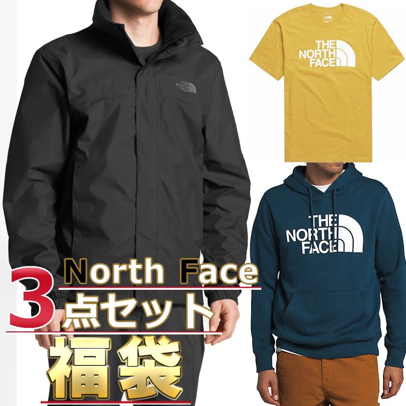 ノースフェイス 福袋 ジャケット Tシャツ パーカー メンズ 3点セット USAモデル THE North Face 送料無料 メンズ ブランド 福袋 お得な半袖Tシャツ、スウェットパーカー、ジャケット3点セット 取寄
