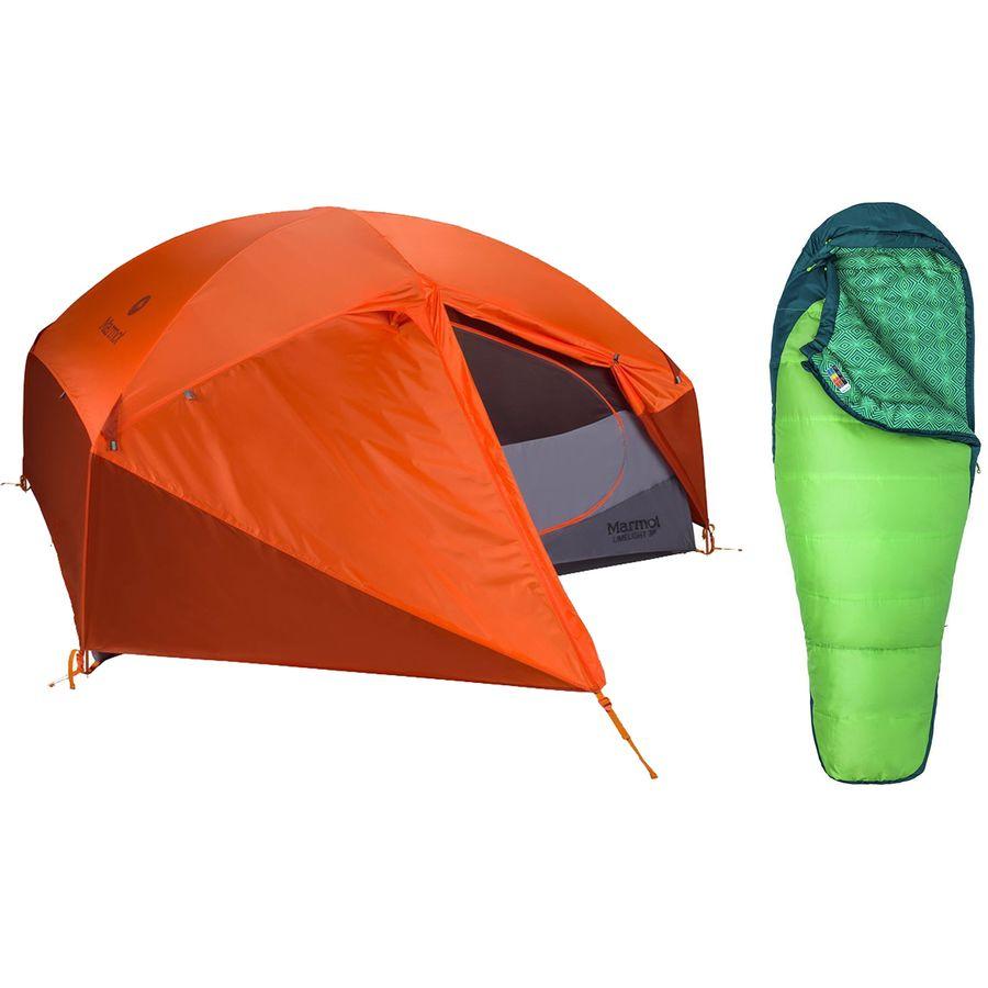 2021年激安 (取寄)マーモット テント + レディース 30 スリーピング バッグ バンドル Marmot Limelight 3P Tent + Women's Trestles 30 Sleeping Bag Bundle One Color, ダンスシューズ専門店 モニシャン a73449dc