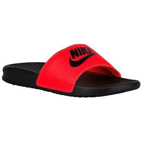 NIKE 나이키 ベナッシ 불일치 여성용 샌들 JDI 슬라이드 Nike Women 's Benassi JDI Mismatch Slide Black Total Crimson