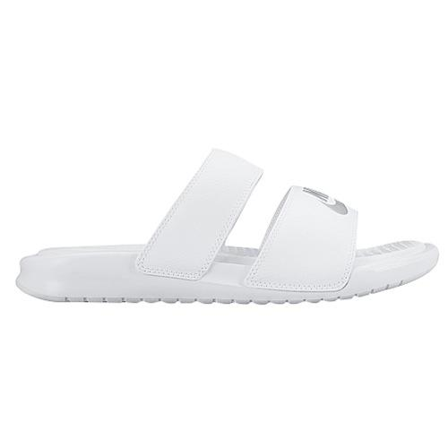 NIKE Nike Sandals Womens Benassi white silver Duo Ultra slide Nike Women's Benassi Duo Ultra Slide White Metallic Silver