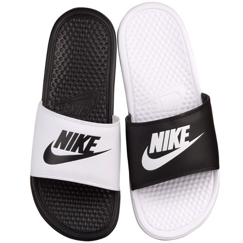 NIKE Nike Benassi Sandals mismatch unisex white black Nike Men s Benassi  JDI Mismatch Slide Black White b3ab75a3e