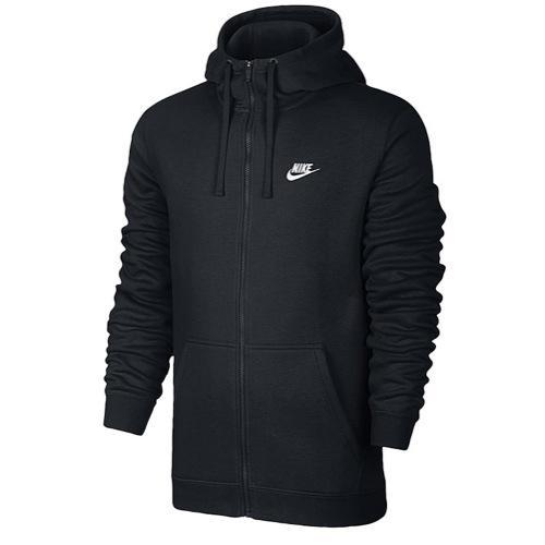 (取寄)ナイキ メンズ NSW クラブ フル ジップ フリース パーカー フーディ ブラック 黒 Nike Men's NSW Club Full Zip Fleece Hoodie Black Black White 【コンビニ受取対応商品】