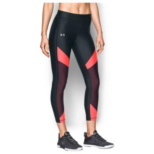 (取寄)アンダーアーマー レディース アンクル クロップ タイツ Under Armour Women's Ankle Crop Tights Black Marathon Red