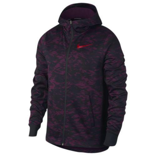 (取寄)Nike ナイキ メンズ パーカー サーマ エリート F/Z カモ フーディ Nike Men's Therma Elite F/Z Camo Hoodie Bordeaux Black University Red