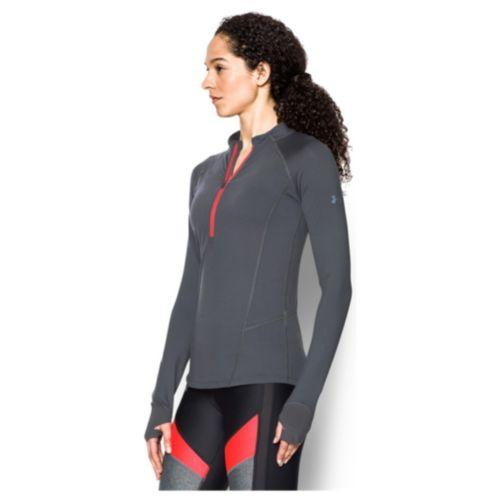(取寄)アンダーアーマー レディース ラン トゥルー 1/2 ジップ Under Armour Women's Run True 1/2 Zip Rhino Gray Marathon Red Reflective