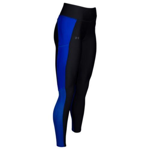 (取寄)アンダーアーマー レディース ヒートギア フライ バイ ラン レギンス Under Armour Women's HeatGear Fly By Run Leggings Black Lapis Blue Reflective