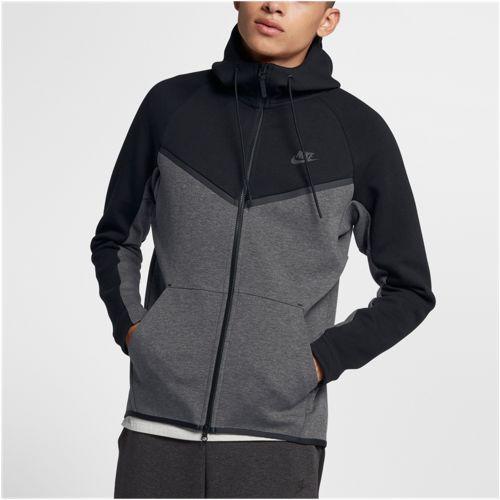 (取寄)ナイキ メンズ パーカー テック フリース カラーブロック ウインドランナー Nike Men's Tech Fleece Colorblocked Windrunner Black Charcoal Heather Black