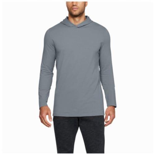 (取寄)アンダーアーマー メンズ ベースライン ロングスリーブ フーデット Tシャツ Under Armour Men's Baseline L/S Hooded T-Shirt Steel Light Heather Black