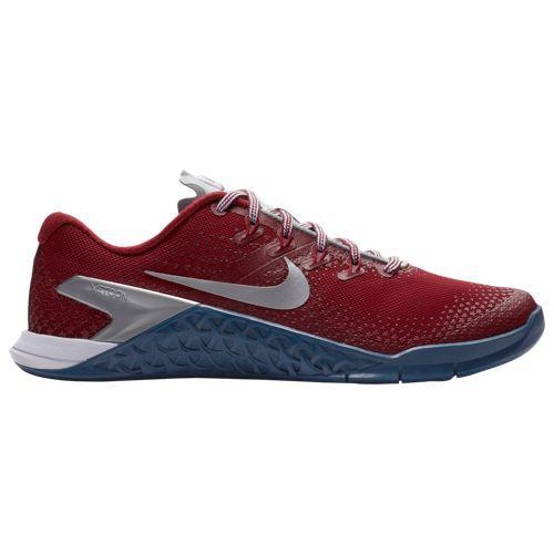 (取寄)ナイキ レディース トレーニングシューズ メトコン 4 スニーカー Nike Women's Metcon 4 Gym Red Metallic Silver Gym Blue White