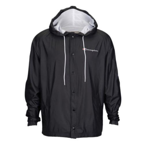 (取寄)チャンピオン メンズ サテン フーデット ウォームアップ ジャケット Champion Men's Satin Hooded Warm-Up Jacket Black
