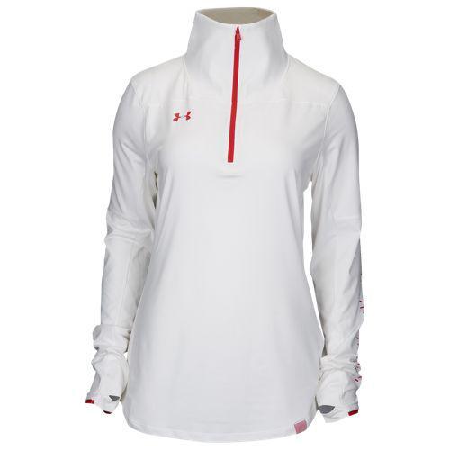 (取寄)アンダーアーマー レディース チーム ニット 1/2 ジップ Underarmour Women's Team Knit 1/2 Zip White Red