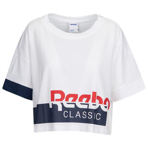 fc7d0dd5230707 (order) Reebok Lady s oar WAIS classical music cropped T-shirt Reebok  Women s Always Classic Cropped T-Shirt White Collegiate Navy