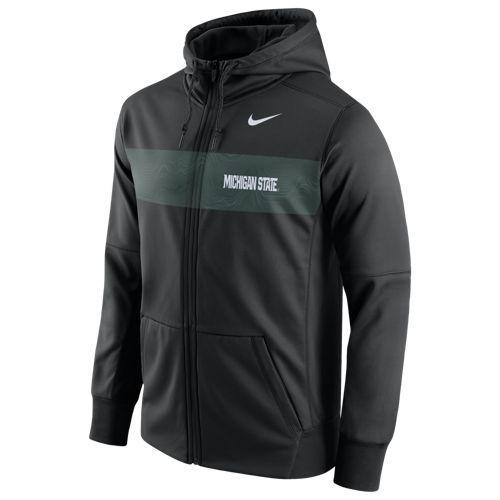 (取寄)ナイキ メンズ カレッジ サイドライン サーマ シズミック FZ フーディ ミシガン ステイト スパルタンズ Nike Men's College Sideline Therma Seismic FZ Hoodie ミシガン ステイト スパルタンズ Black