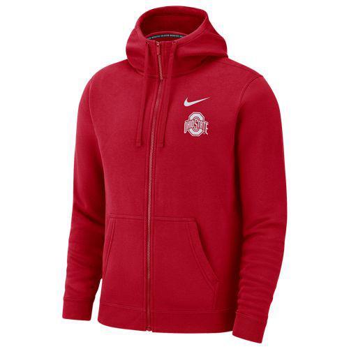 (取寄)ナイキ メンズ カレッジ チーム クラブ フルジップ フーディ オハイオ ステイト バックアイズ Nike Men's College Team Club Full-Zip Hoodie オハイオ ステイト バックアイズ Red