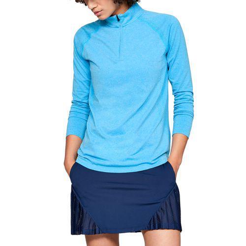(取寄)アンダーアーマー レディース スレッドボーン シームレス ゴルフ 1/4 ジップ Underarmour Women's Threadborne Seamless Golf 1/4 Zip Capri Medium Heather Blue Circuit