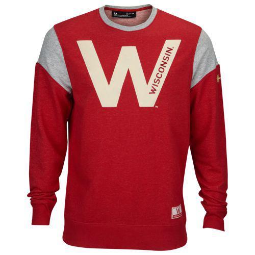 (取寄)アンダーアーマー メンズ カレッジ アイコニック フリース クルー ウィスコンシン バッジャーズ Underarmour Men's College Iconic Fleece Crew ウィスコンシン バッジャーズ Red
