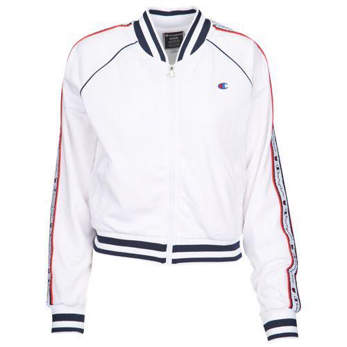 (取寄)チャンピオン レディース テープド トラック ジャケット Champion Women's Taped Track Jacket White
