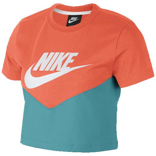 (取寄)ナイキ レディース ヘリテージ クロップ Tシャツ Nike Men's Heritage Crop T-Shirt Cabana Orange Turf White
