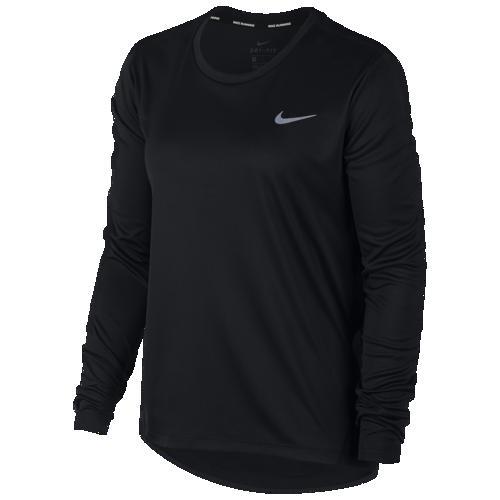 (取寄)ナイキ レディース ミラー ロング スリーブ トップ Nike Men's Miler Long Sleeve Top Black Reflective Silver