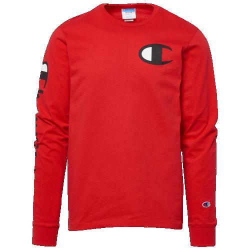 (取寄)チャンピオン メンズ ヘリテージ レフト チェスト ロングスリーブ Tシャツ Champion Men's Heritage Left Chest L/S T-Shirt Team Red Scarlet