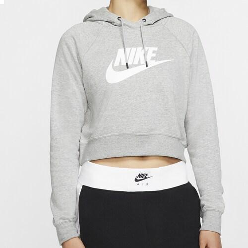 【エントリーでポイント5倍】(取寄)ナイキ レディース パーカー エッセンシャル クロップ フーディ Nike Women's Essential Crop Hoodie Dark Grey Heather White