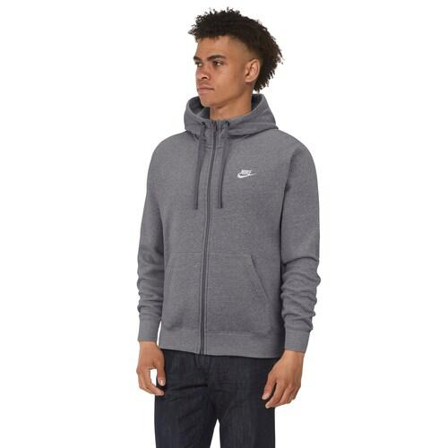 (取寄)ナイキ メンズ パーカー クラブ フルジップ フーディ Nike Men's Club Full-Zip Hoodie Charcoal Heather Anthracite White
