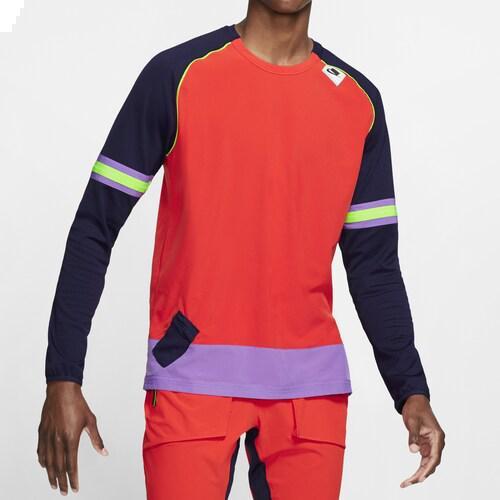 (取寄)ナイキ メンズ Tシャツ 長袖 ロンT ワイルド ラン ミッドレイヤー ロング スリーブ Nike Men's Wild Run Midlayer Long Sleeve Habanero Red Black