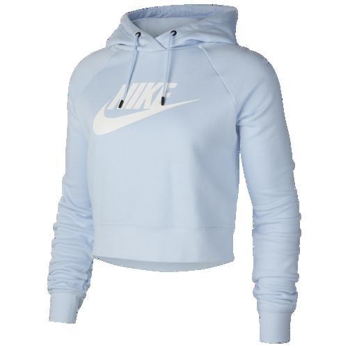 (取寄)ナイキ レディース パーカー エッセンシャル クロップ フーディ Nike Women's Essential Crop Hoodie Celestine Blue White