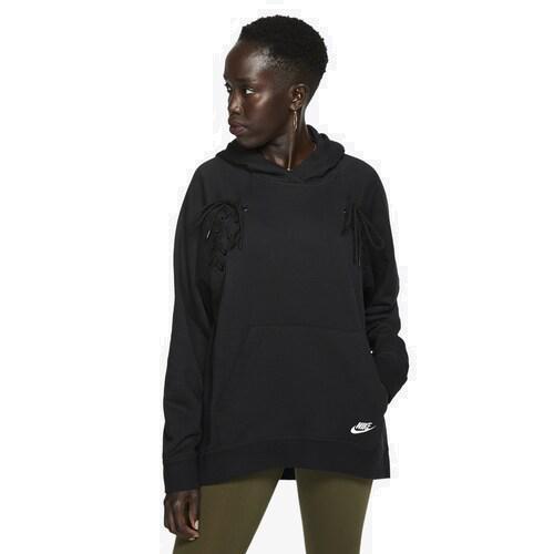 【エントリーでポイント5倍】(取寄)ナイキ レディース パーカー エッセンシャル タイ フリース フーディ Nike Women's Essential Tie Fleece Hoodie Black White