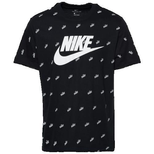 (取寄)ナイキ メンズ スクリプト AOP Tシャツ Nike Men's Script AOP T-Shirt Black Platinum White