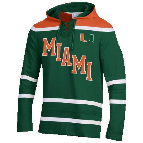 (取寄)チャンピオン メンズ カレッジ スーパー ファン ホッケー フーディ マイアミ (Fla.) ハリケーン Champion Men's College Super Fan Hockey Hoodie マイアミ (Fla.) ハリケーン Dark Green Orange Dark Green