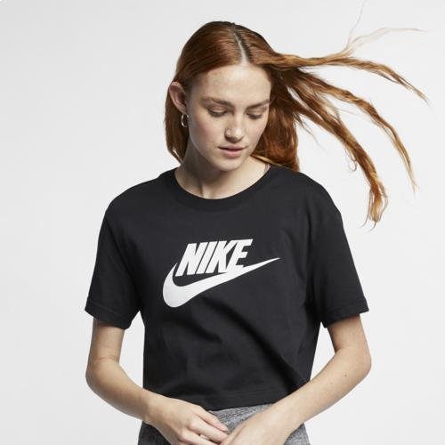 (取寄)ナイキ レディース エッセンシャル クロップ アイコン フューチュラ Tシャツ Nike Women's Essential Crop Icon Futura T-Shirt Black White