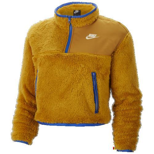 【NIKE ナイキ】【トップスロング】【ファッション ブランド】 (取寄)ナイキ レディース クロップ シェルパ 1/4 ジップ プルオーバー Nike Women's Crop Sherpa 1/4 Zip Pullover Gold Suede Game Royal Pale Vanilla