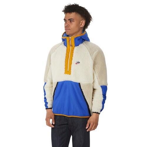 (取寄)ナイキ メンズ ヘリテージ エッセンシャル ハーフ ジップ シェルパ ジャケット Nike Men's Heritage Essentials Half Zip Sherpa Jacket Sail Game Royal Desert Sand