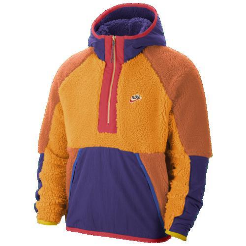 (取寄)ナイキ メンズ ヘリテージ エッセンシャル ハーフ ジップ シェルパ ジャケット Nike Men's Heritage Essentials Half Zip Sherpa Jacket Kumquat Court Purple Amber Rise