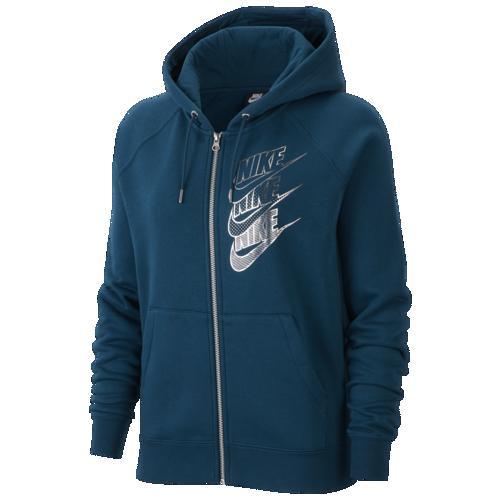 (取寄)ナイキ レディース パーカー グラム ダンク フル ジップ フーディ Nike Women's Glam Dunk Full Zip Hoodie Midnight Turq Midnight Turq Metallic Silver
